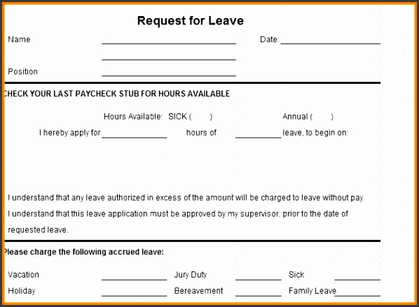 4 annual leave application form template