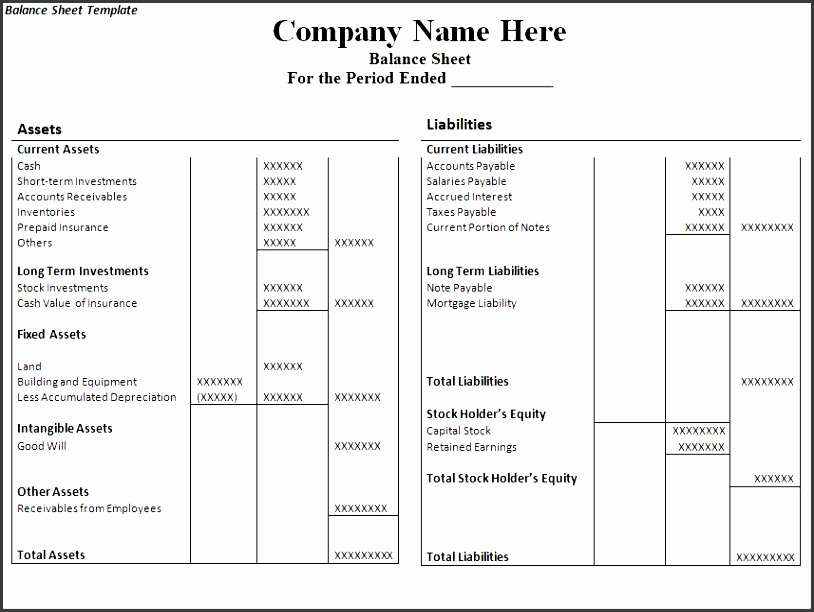 6 balance sheet format in excel