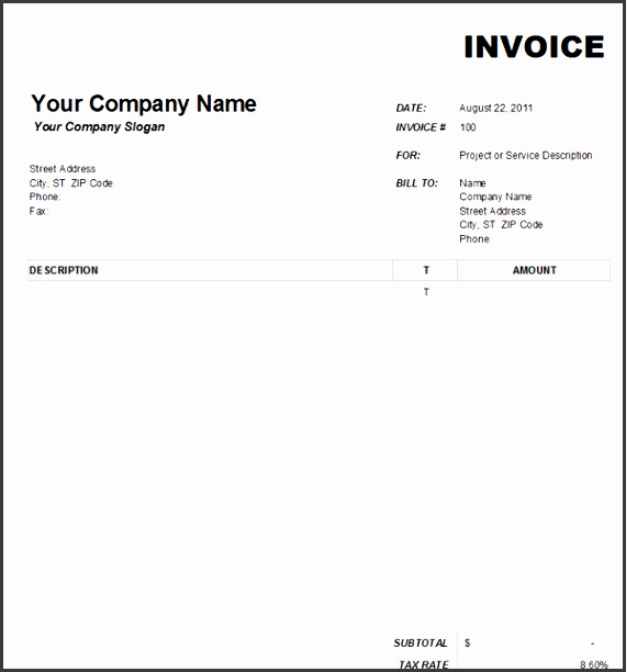 Good Looking Blank Invoice Template Sample For Excel And Microsoft Blank Invoice Template Free Download