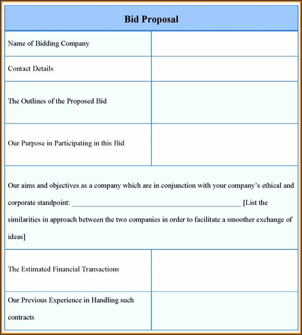 bid proposal template templates others template proposal template for bid example of bid proposal template sample caption