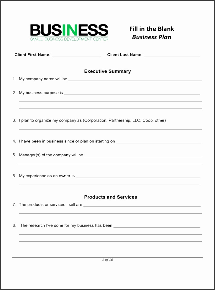 Free Printable Business Plans