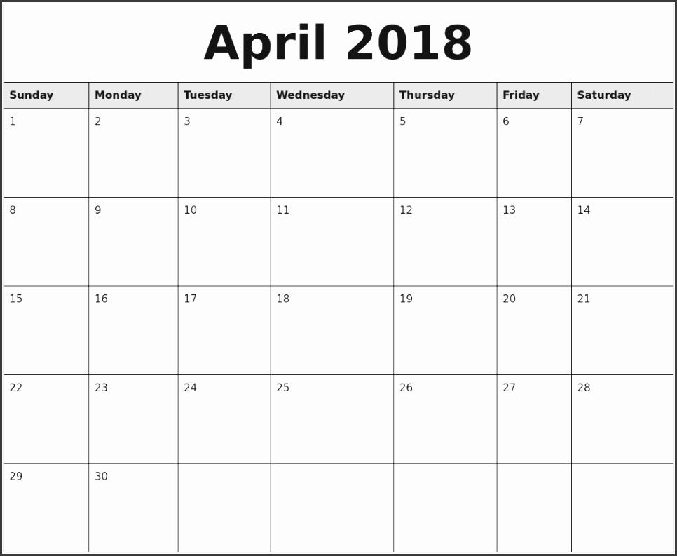 April 2018 Monthly Calendar Printable