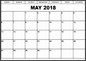 May 2018 Calendar Template Printable