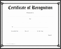 free school certificate of recognition Free Printable Certificate of Recognition Blank