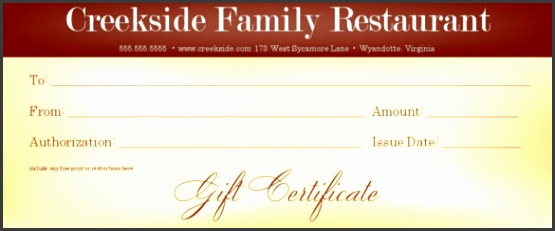 Example of Family Restaurant Gift Certificate Template