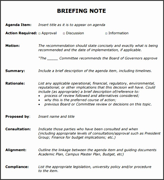 Briefing Note Templates  Sampletemplatess  Sampletemplatess