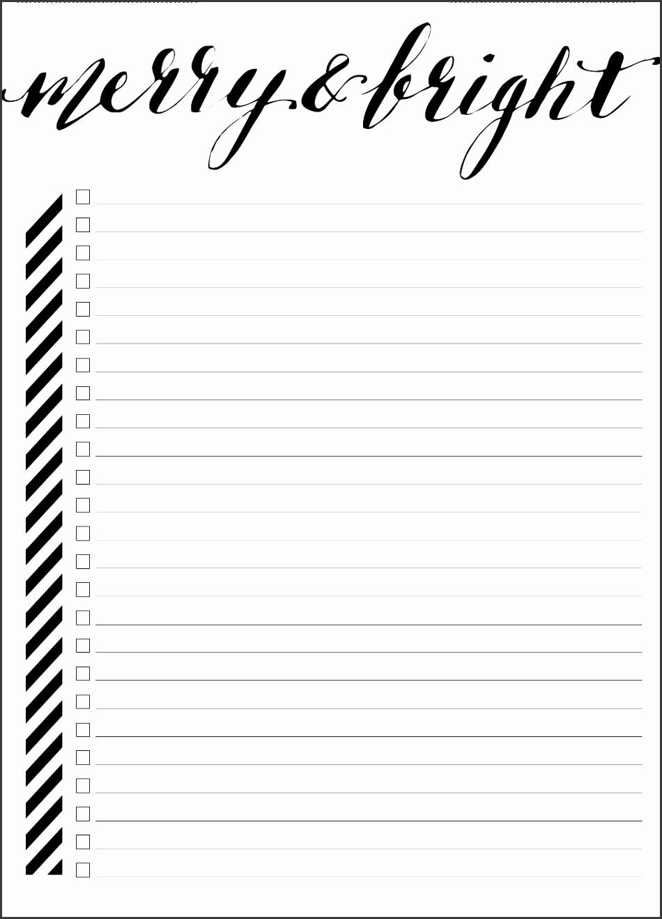Blank Bucket List Template