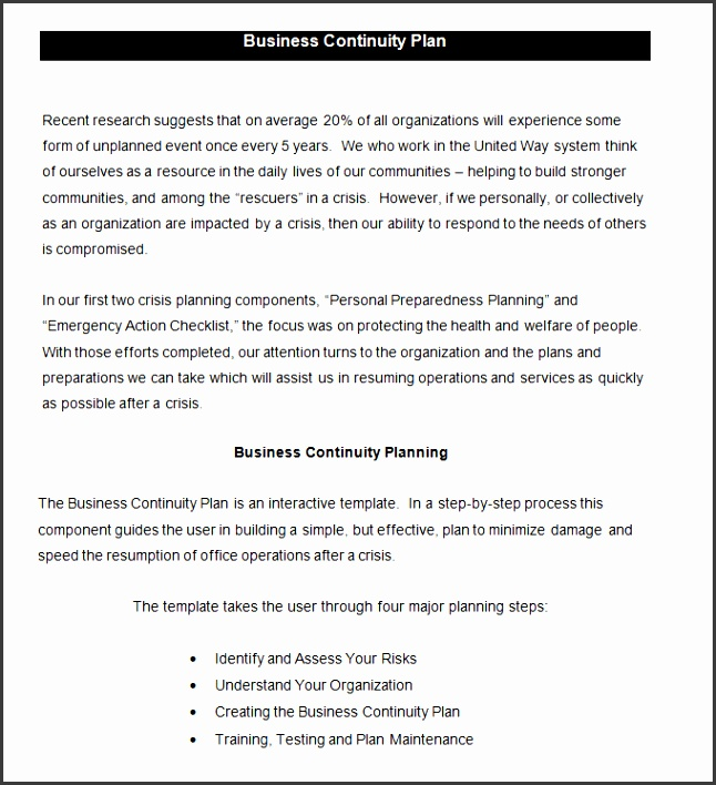Business Continuity Plan Template 6 Free Word Pdf Documents