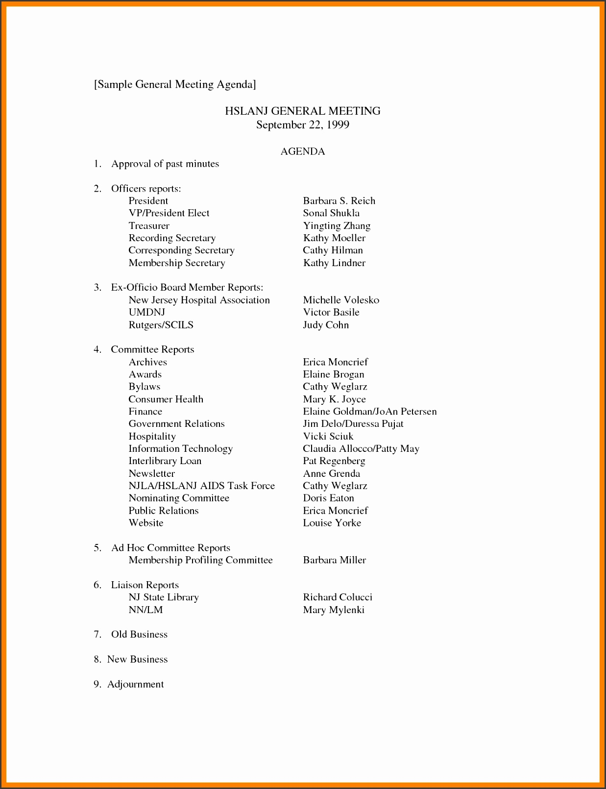 9 Business Meeting Agenda Template - SampleTemplatess ...