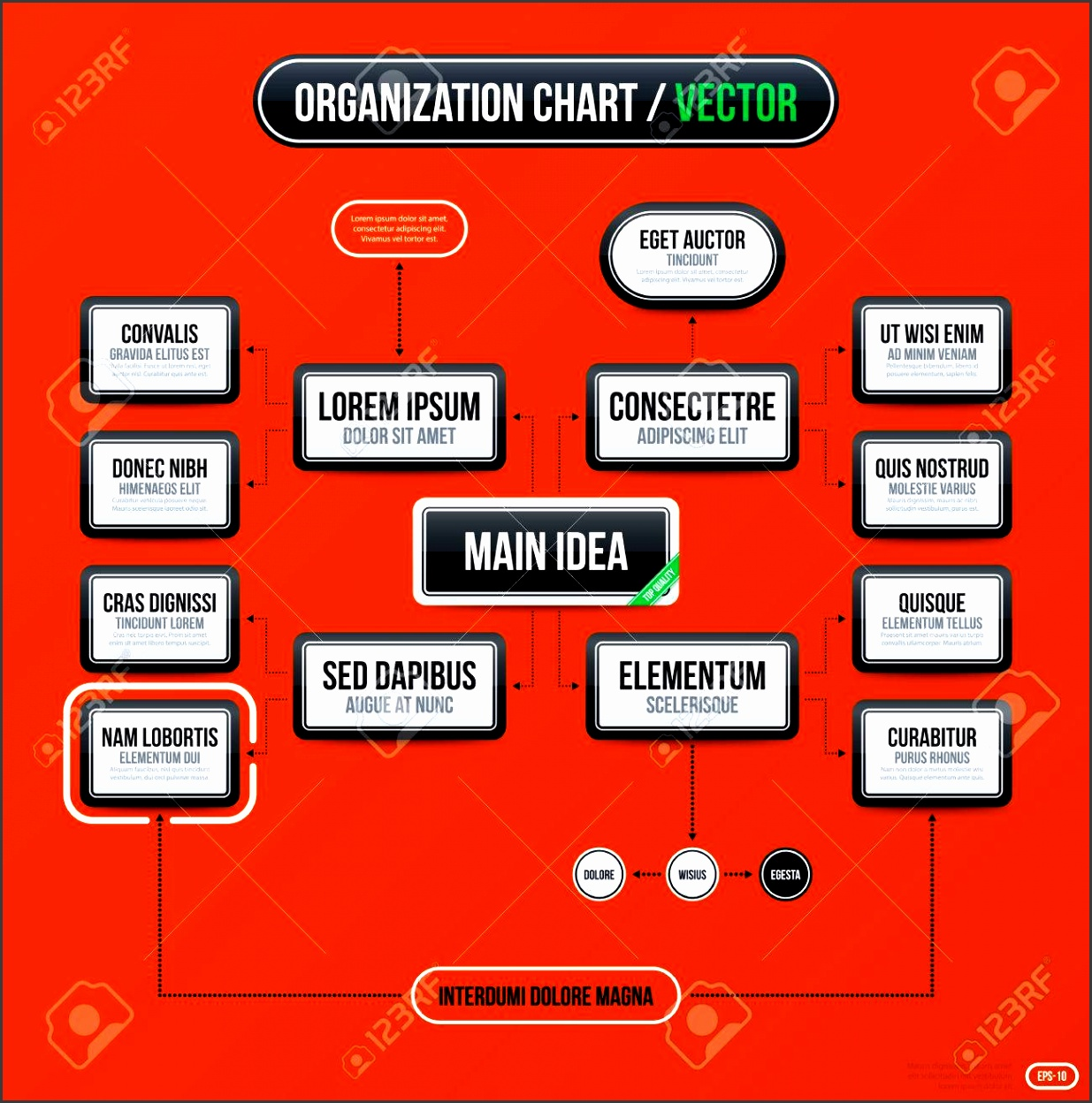 Corporate business organization chart template on bright orange background Useful for presentations and advertising