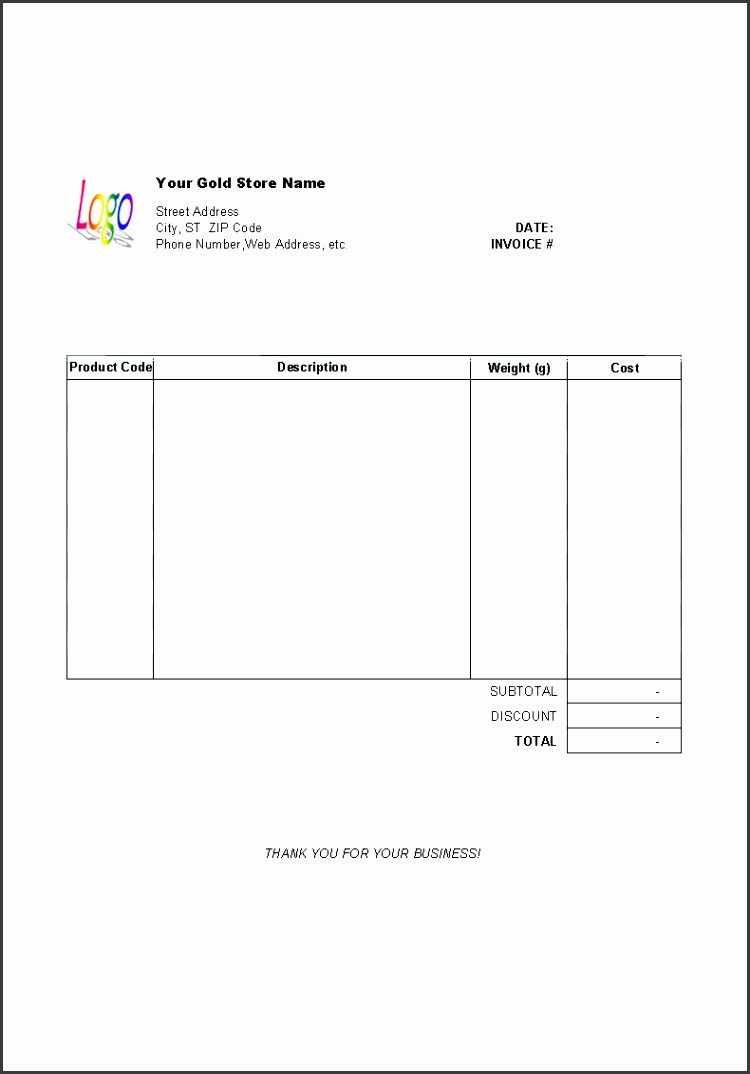 Gold Shop Receipt Template printed document
