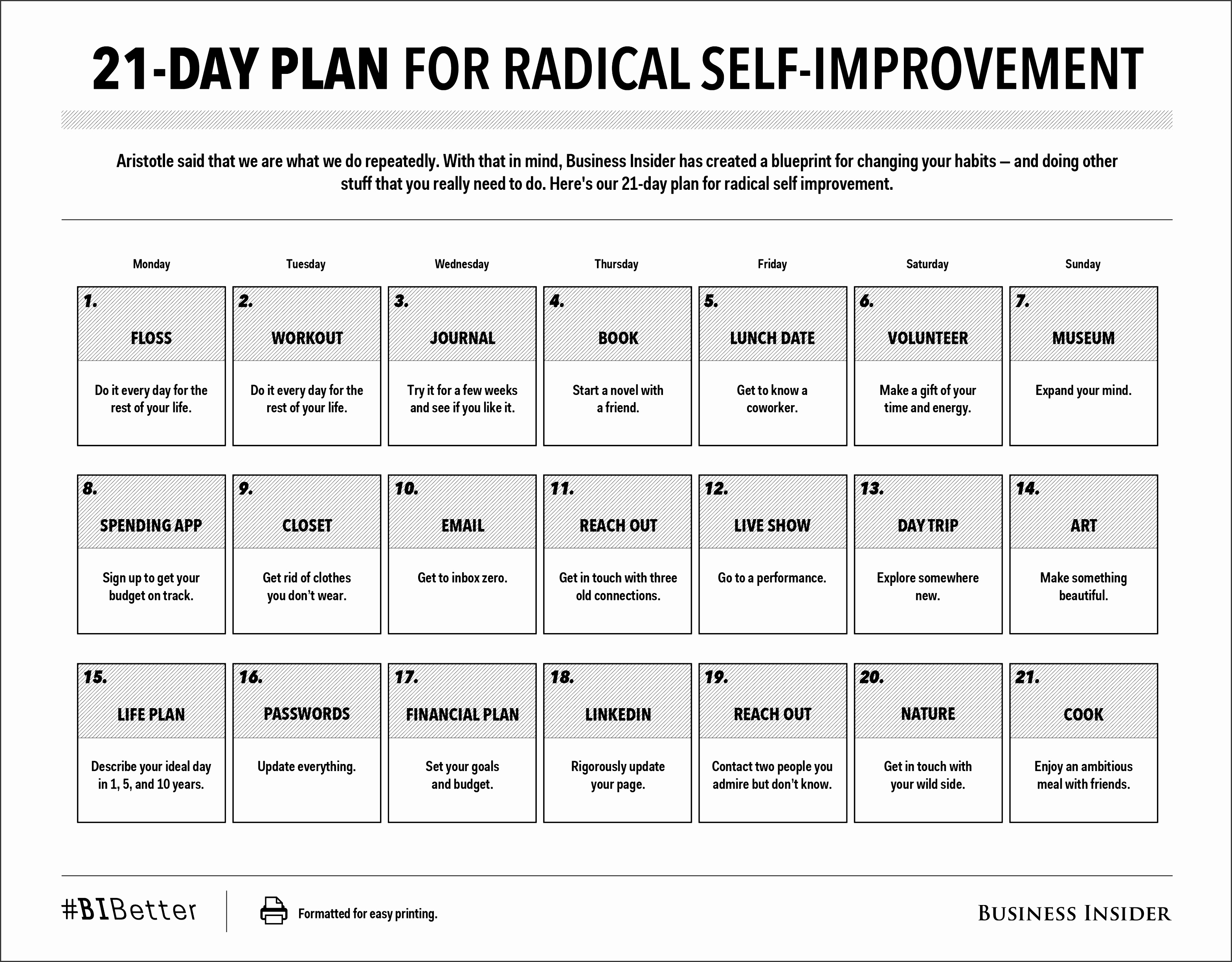 21 Day Plan For Radical Self Improvement PRINT FRIENDLY