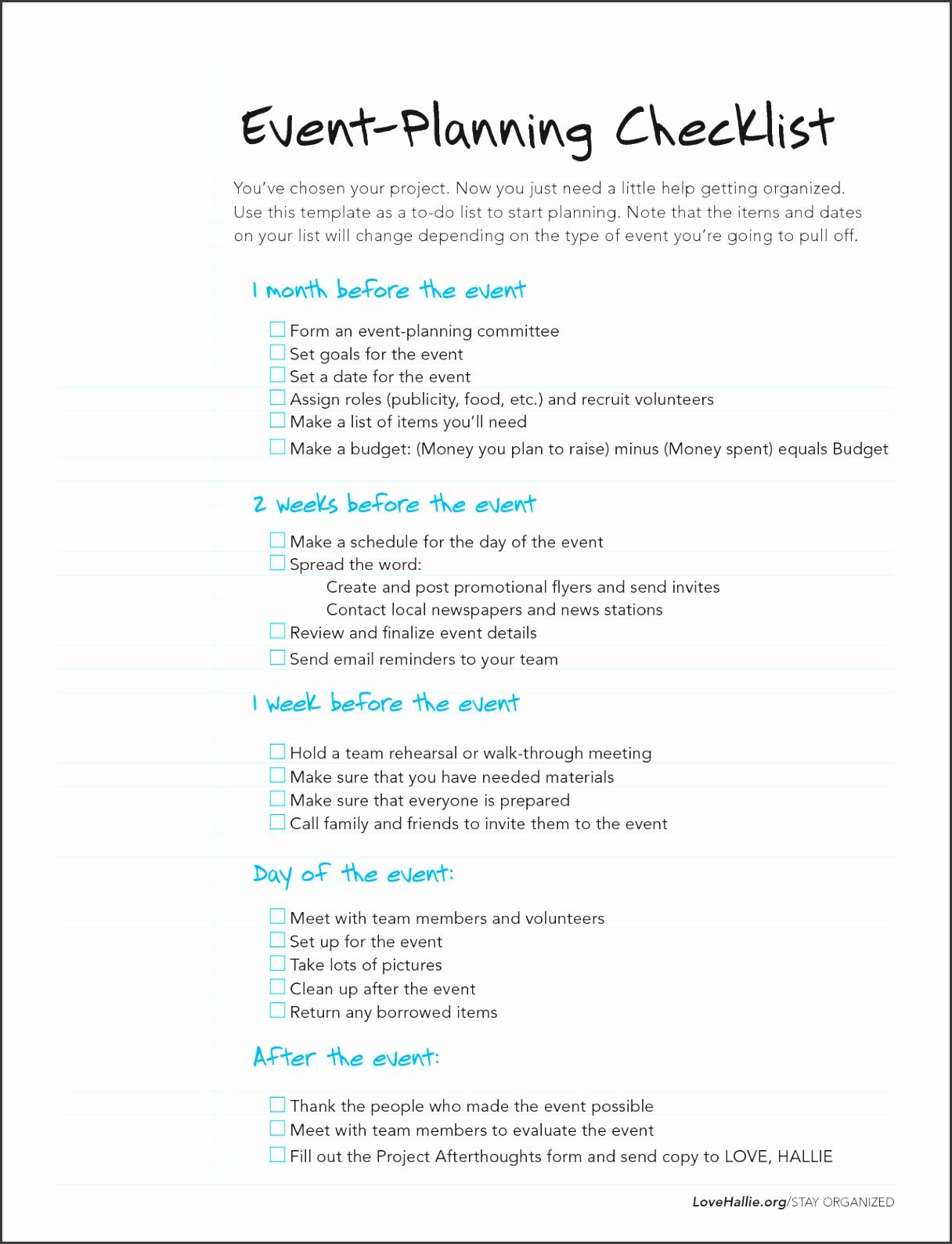 Event Planning Checklist Document Sample Event Planning Checklist