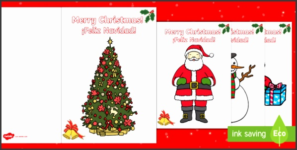 Christmas Gift Card Template English Spanish christmas xmas Happy Christmas cards