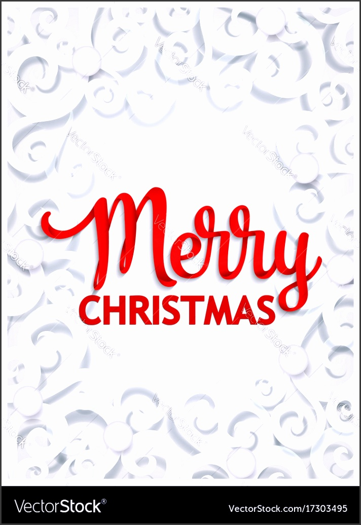 Merry christmas paper cut greeting card template vector image