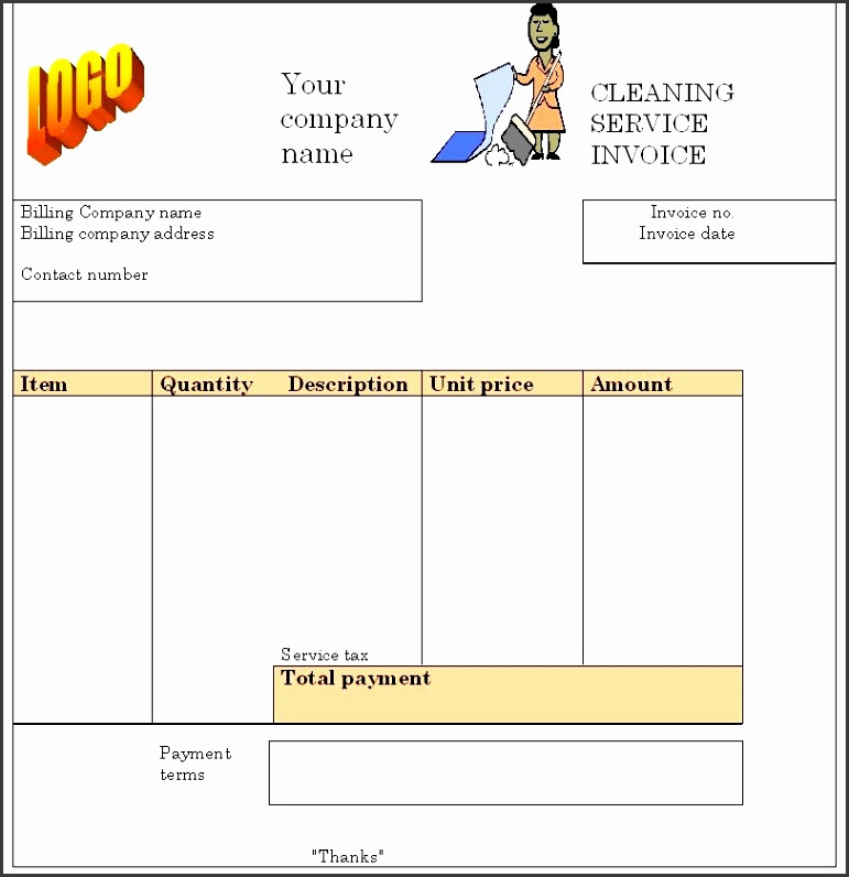 Cleaning Service Templates – 28 – Cleaning Service Invoice House Cleaning Invoice Example
