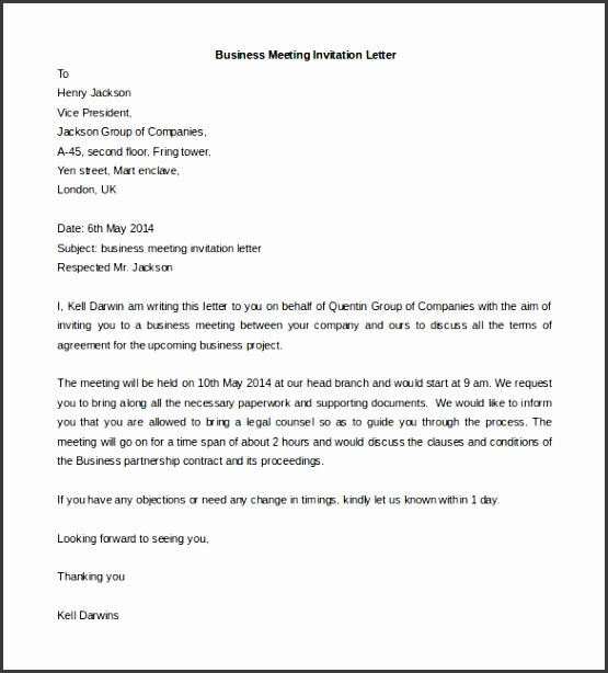 Business Meeting Invitation Letter Template Word Format