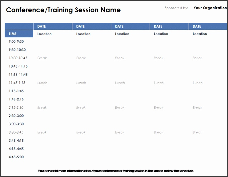 Conference Room Schedule Template Weekly