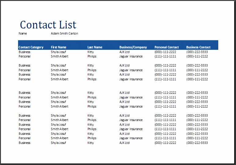 contact list sample 2354