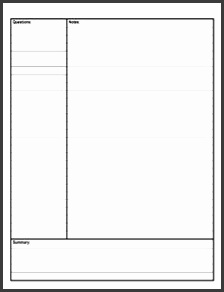 Cornell Notes Template from AVID back