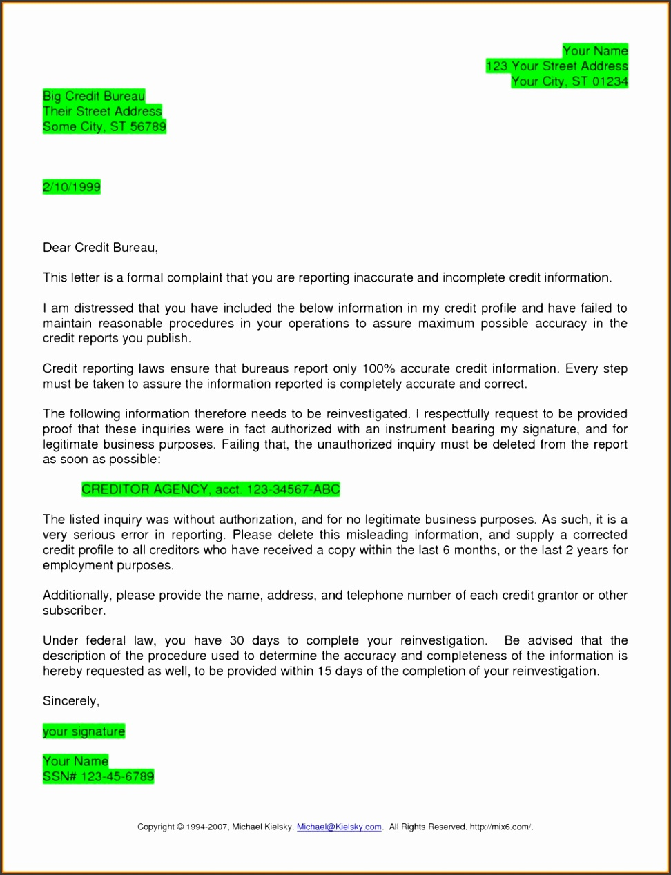 Wonderfull Credit Bureau Dispute Letter – Letter Format Writing regarding Credit Dispute Letter Template