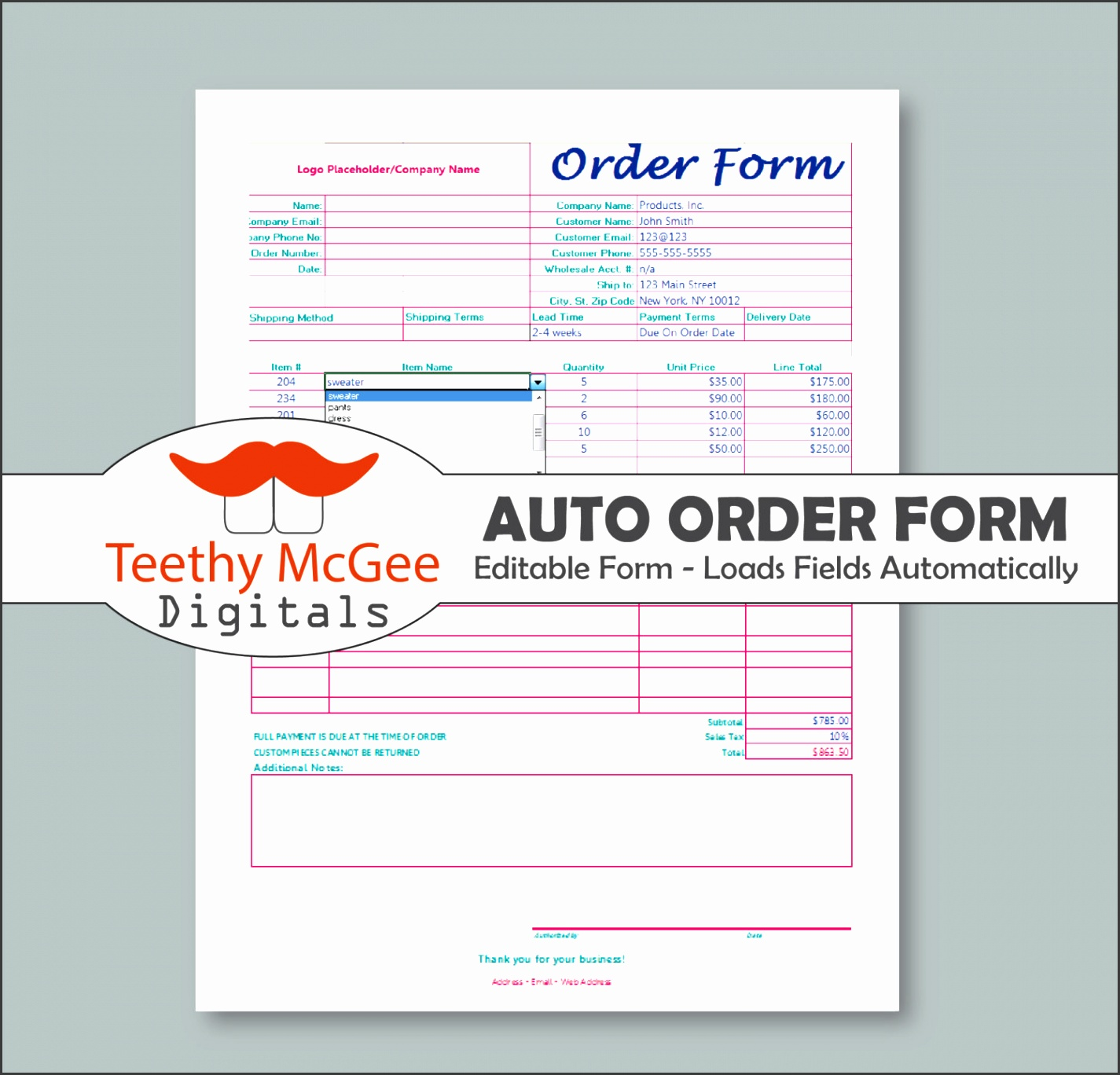 free editable order form templates