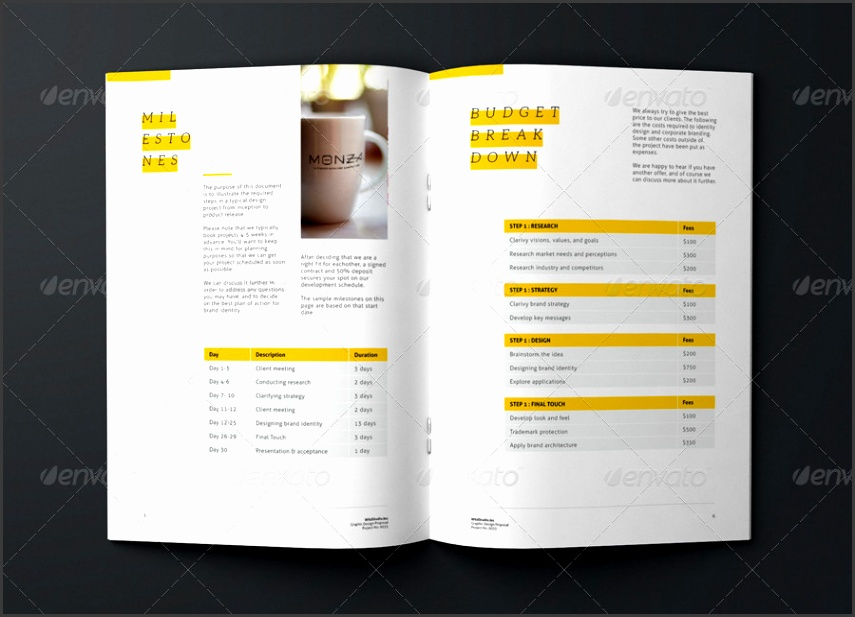 Graphic Design Project Proposal Template Proposals & Invoices Stationery · 01 02 03