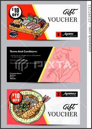 Gift voucher template hand drawn Japanese food