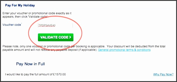 Apply your promo code to your Thomas Cook order
