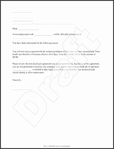 Termination Letter For Employee Template With Sample with Employee Dismissal Letter