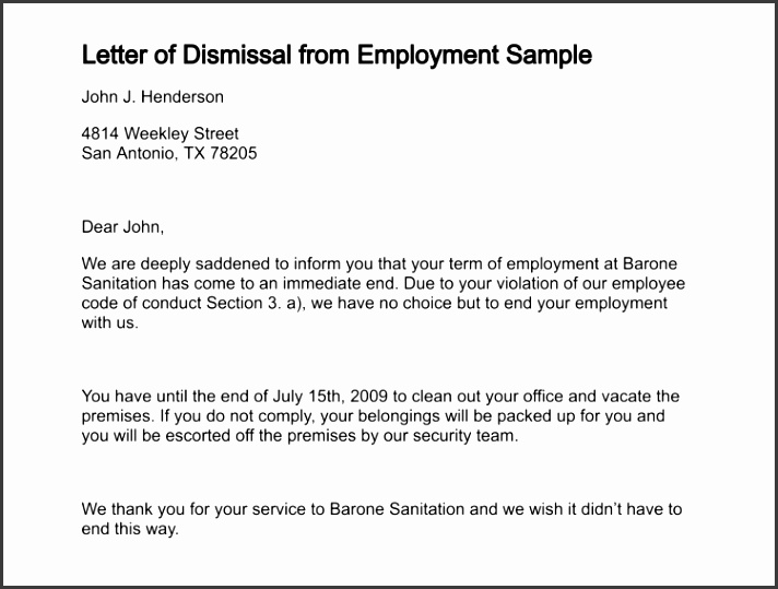 letter of dismissal from employment sample 191 0