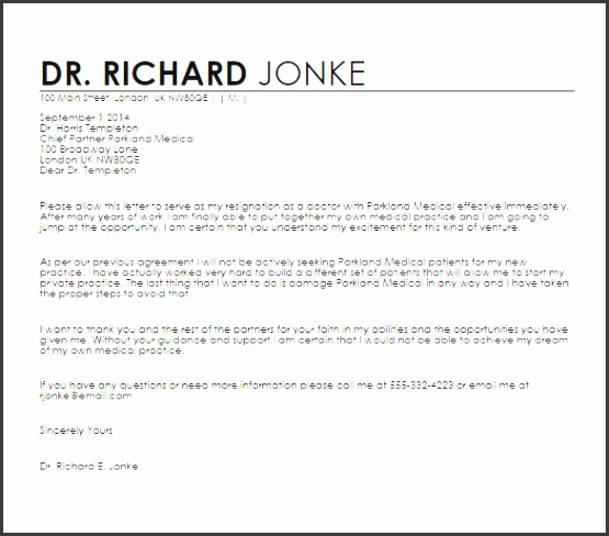 Doctors Resignation Letter Sample Template