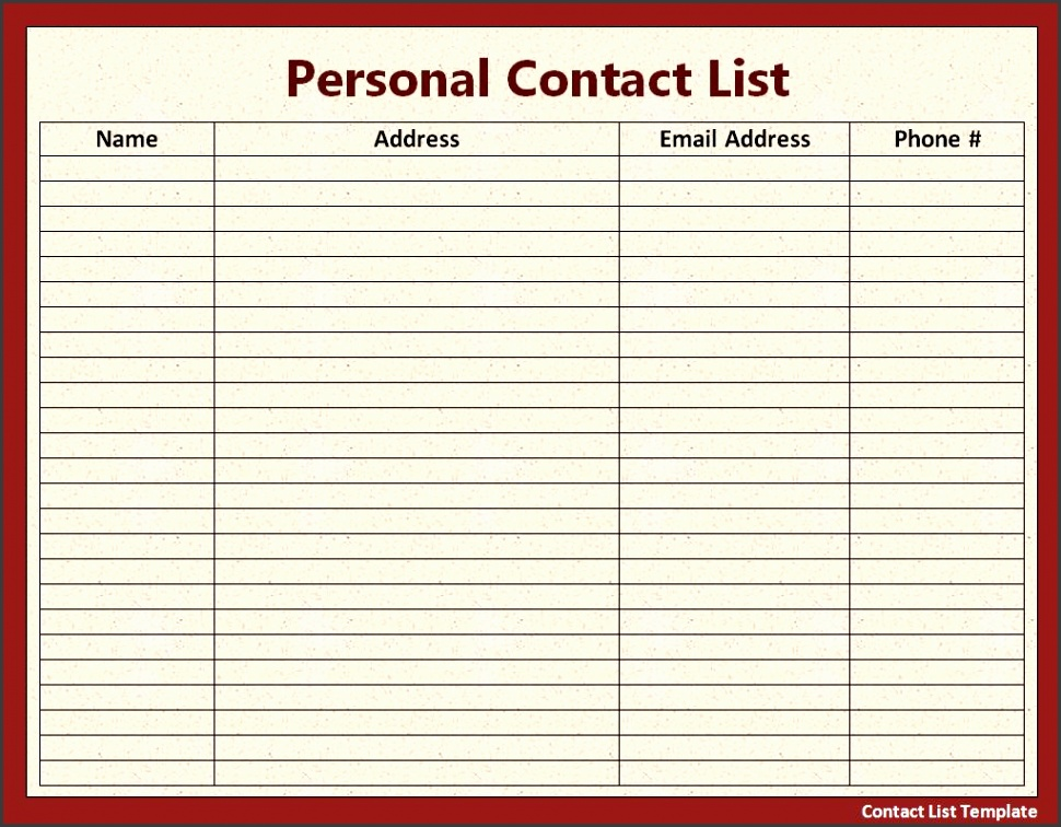 9 employee contact list template