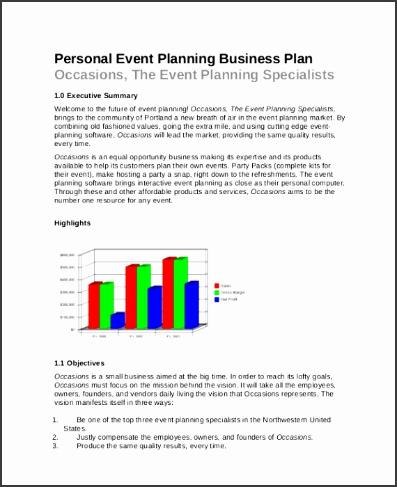 business plan format for event management