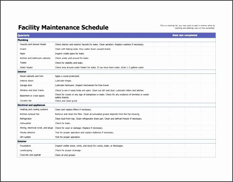 building maintenance plan template download