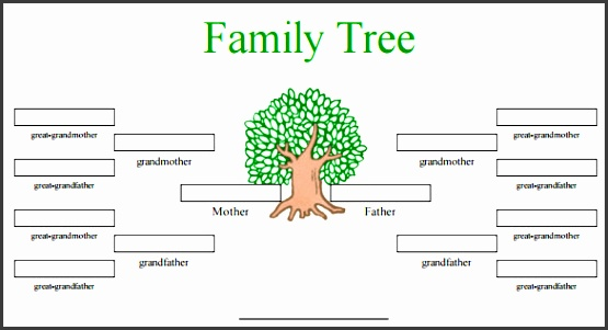 4 generation family tree in color template pdf format download