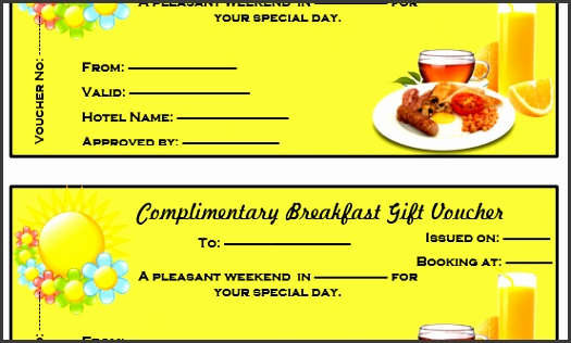 Plimentary Breakfast T Voucher Template Microsoft Word Meal Voucher Template