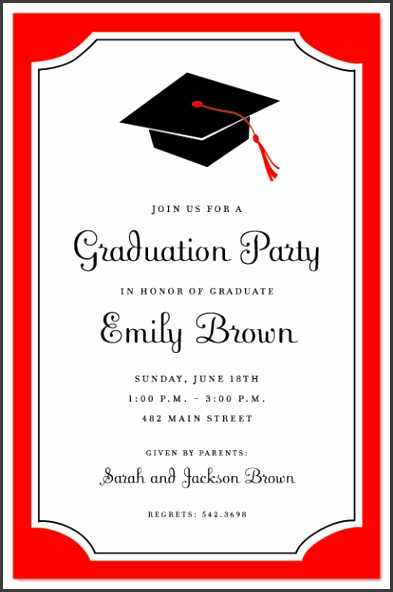 Graduation Party Invitation Letter Graduation Red Border Semi Formal Invitations Myexpression Download