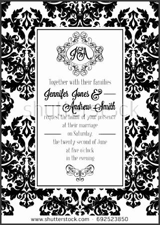 Vintage delicate formal invitation card with black and white lacy design for wedding marriage