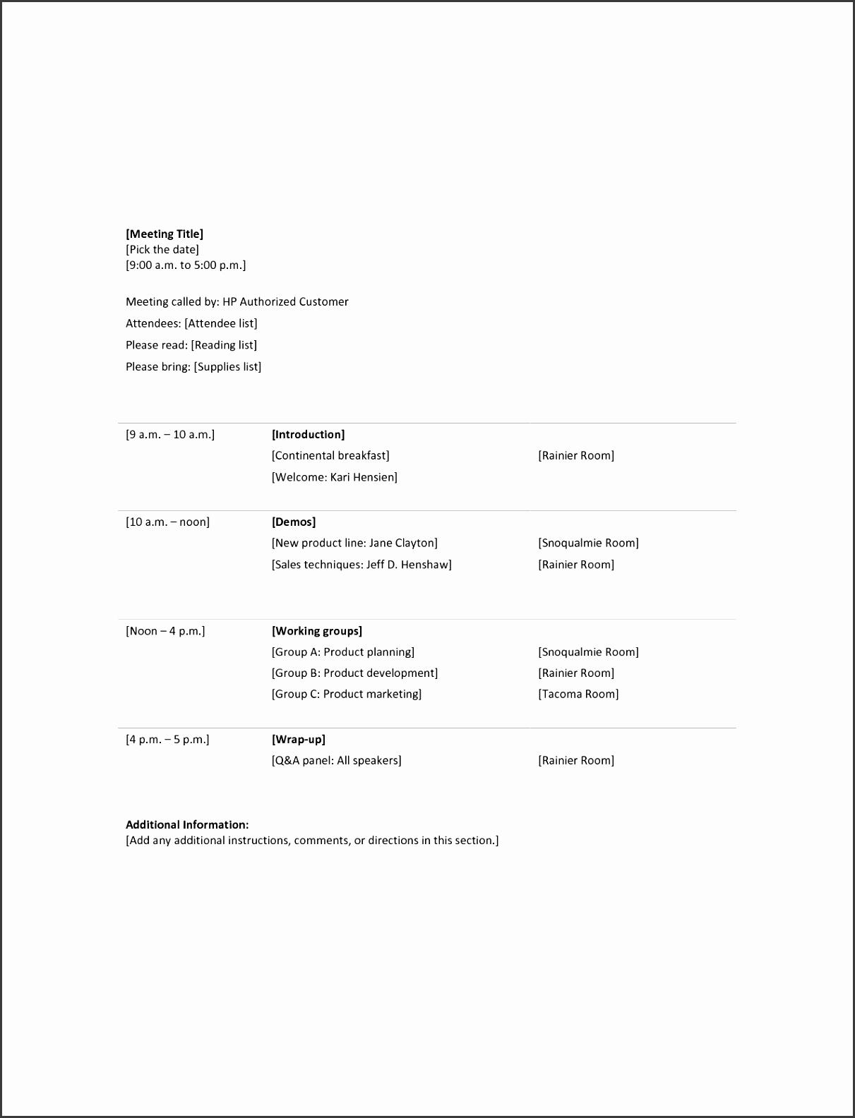Sample Meeting Agenda Templates