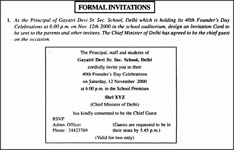 10 format of formal invitation for class 12