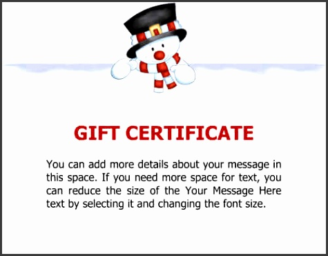 Snowman Sample Gift Certificate