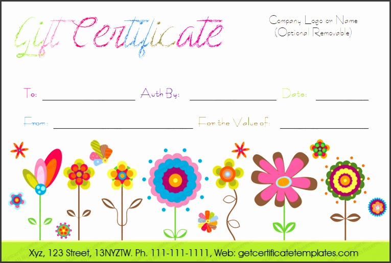 Flowers Gift Certificate Template