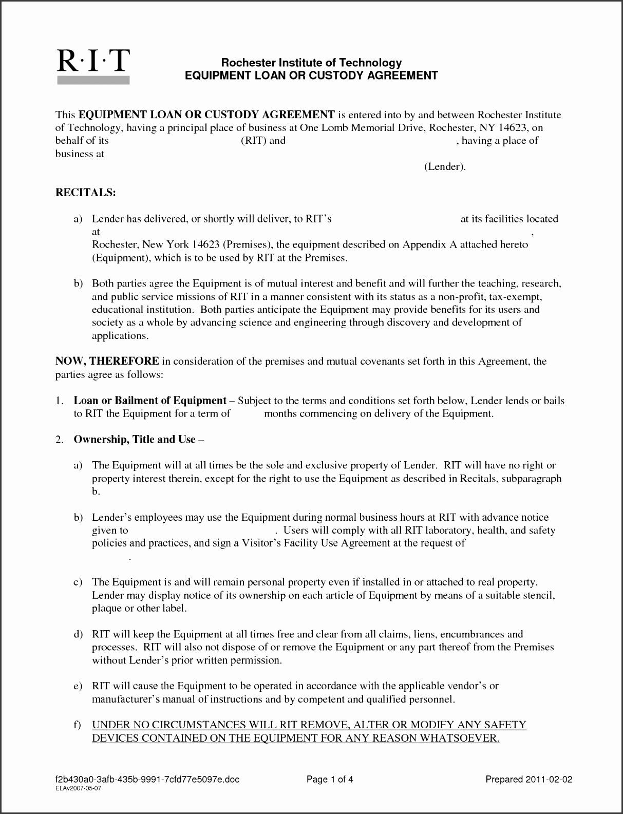 Hard Money Loan Contract Template