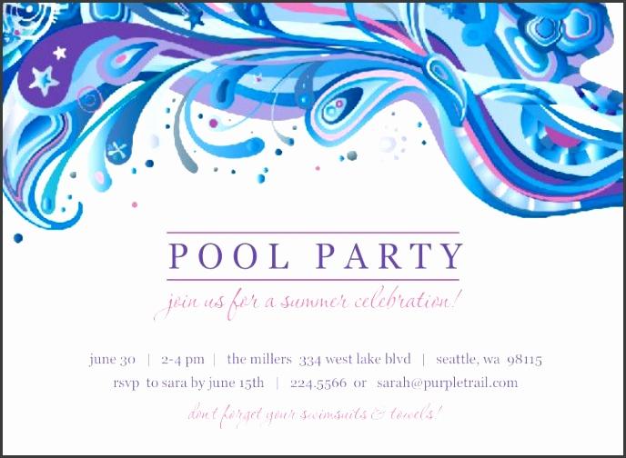 9 free pool party birthday invitation template