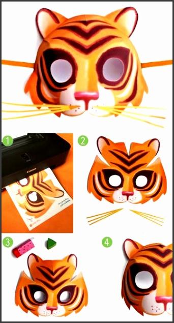 Easy to make printable tiger mask Animal mask templates