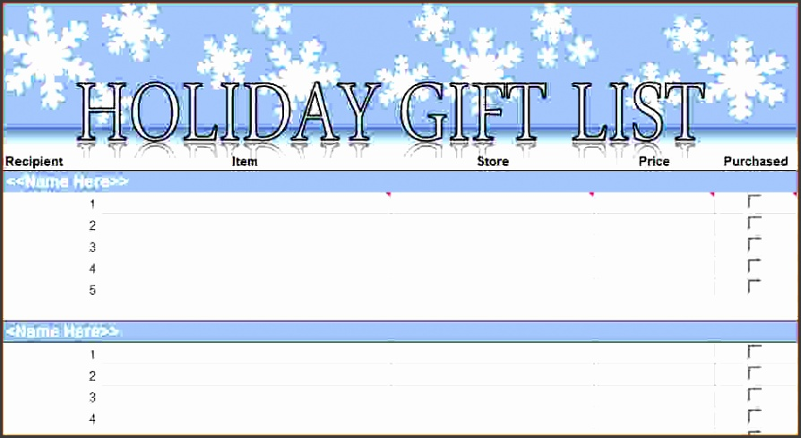printable holiday shopping list template