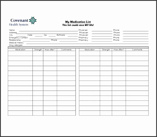 Medication List Template 02