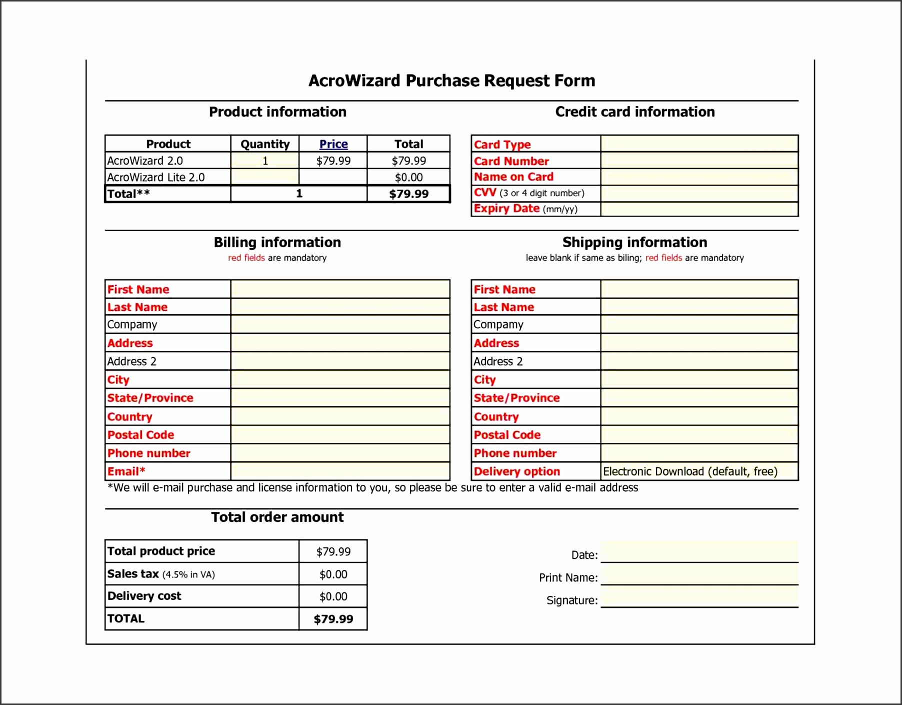 6 Free Purchase order form Template - SampleTemplatess ...