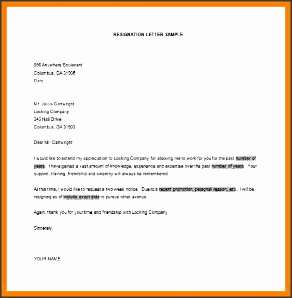 simple resignation letter template part time job resignation